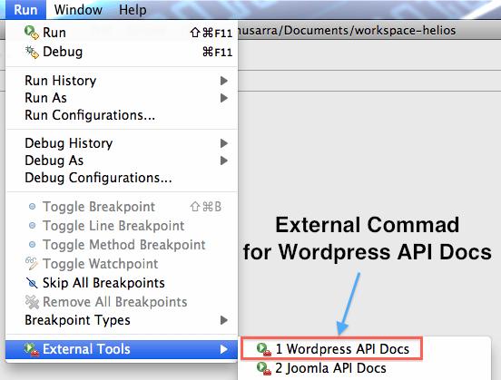 External Tools Wordpress API Docs aggiunto alla lista dopo la creazione.