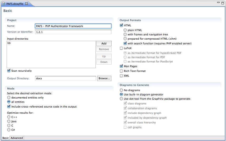 Figura 5 Interfaccia (basic mode) per l'editing del Doxyfile.