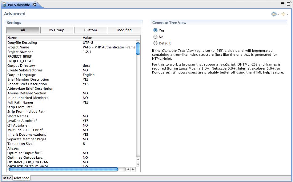 Figura 6 Interfaccia (advanced mode) per l'editing del Doxyfile.