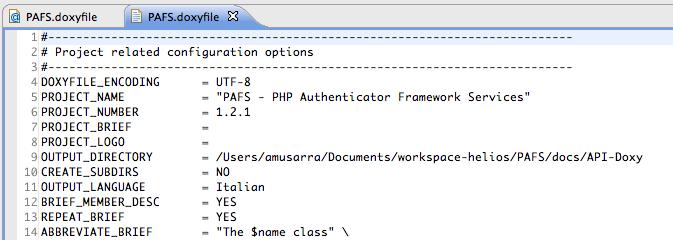 Figura 7 Doxyfile aperto con il semplice editor di testo di Eclipse.