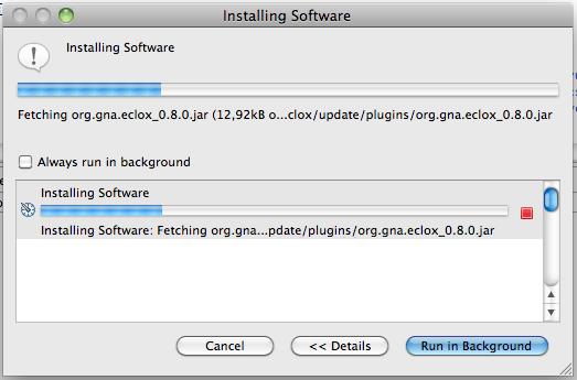Figura 2 Avanzamento del processo d'installazione del plugin Eclox.