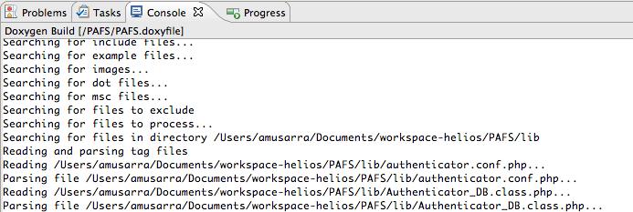 Figura 9 Output in console di Doxygen durante la fase di elaborazione del codice sorgente.