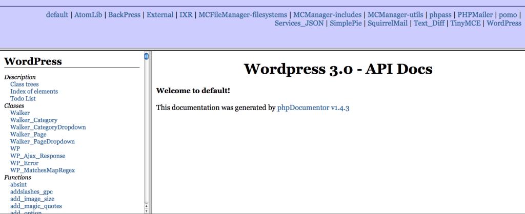 Home Page della documentazione delle API.