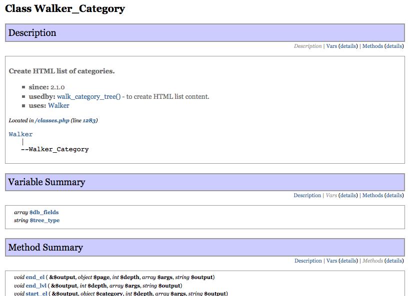 Documentazione di dettaglio su di una classe parte delle API.